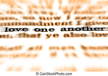 Scripture Quote Love One Another - Detail closeup of...