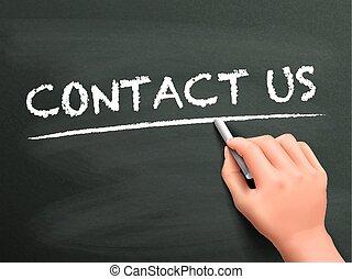 scritto, contatto, parole, ci, mano