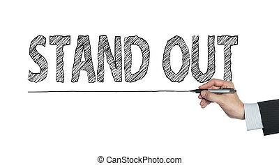 scritto, fuori, stare in piedi, mano