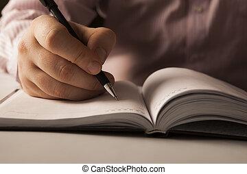 scritto, lavoro, preparare, uomo