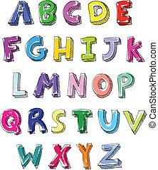 scritto, lettere, colorito, mano