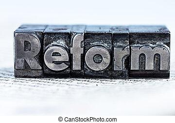 scritto, lettere, piombo, reform