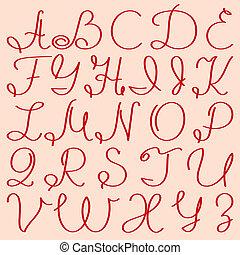 scritto mano, lettere, capitale