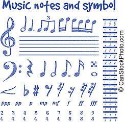 scritto mano, note musicali