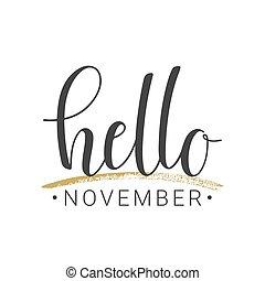 scritto mano, novembre, sfondo bianco, ciao, iscrizione