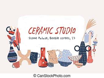 scritto mano, vasi, candlesticks., studio, porcellana, ...