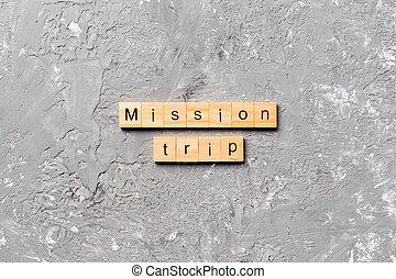 scritto, missione, testo, viaggio, legno, parola, concetto, tavola, block.