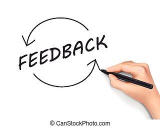 scritto, parola,  feedback, mano