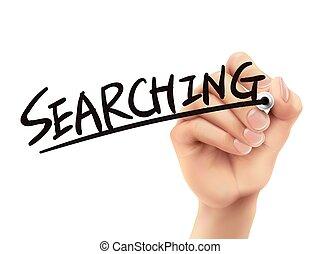 scritto, ricerca, mano