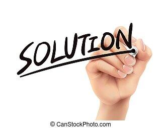 scritto, soluzione, mano