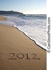 scritto, spiaggia, verticale, 2012