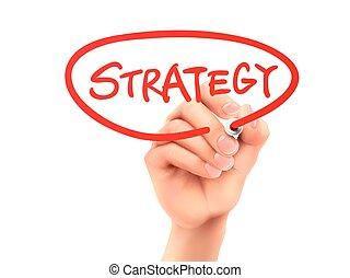 scritto, strategia, parola, mano