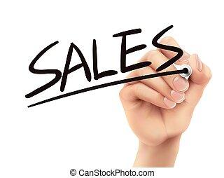 scritto, vendite, mano
