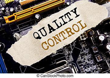 scrittura, annuncio, testo, esposizione, qualità, control., concetto affari, per, miglioramento, lavoro, scritto, su, nota appiccicosa, computer, principale, asse, fondo.