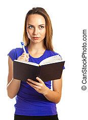 scrittura donna, giovane, organizzatore, lei