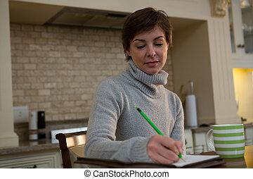 scrittura, donna, organizzatore, bello