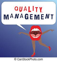 scrittura, nota, esposizione, qualità, management., affari, foto, showcasing, mantenere, eccellenza, livello, alto, standard, prodotto, servizi