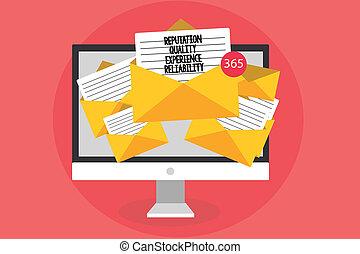 scrittura, nota, esposizione, reputazione, qualità, esperienza, reliability., affari, foto, showcasing, soddisfazione cliente, buon servizio, computer, ricevimento, email, importante, messaggi, buste, carte, virtual.