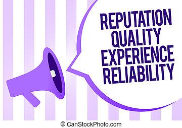 scrittura, nota, esposizione, reputazione, qualità, esperienza, reliability., affari, foto, showcasing, soddisfazione cliente, buon servizio, megafono, altoparlante, viola, zebrato, importante, messaggio, discorso, bubble.
