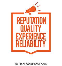 scrittura, nota, esposizione, reputazione, qualità, esperienza, reliability., affari, foto, showcasing, soddisfazione cliente, buon servizio, megafono, altoparlante, arancia, cornice, comunicare, importante, information.