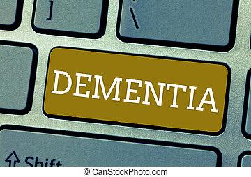 scrittura, testo, dementia., concetto, significato, danneggiamento, in, perdita memoria, di, conoscitivo, funzionamento, malattia cervello