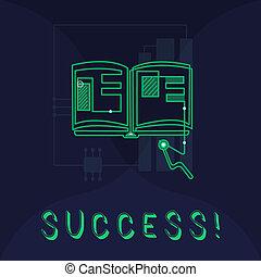 scrittura, testo, success., concetto, significato, realizzazione, scopo, scopo, buono, o, cattivo, risultato, di, impresa