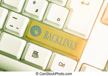 scrittura, uno, collegamenti, chiave, tastiera, colorato, differente, pagina, organizzato, parola, testo, vuoto, accessori, affari, copia, backlinks., o, concetto, un altro, sito web, space.
