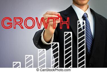 scrittura uomo affari, crescita, sopra, uno, barre
