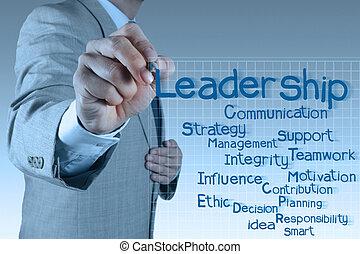 scrittura uomo affari, direzione, abilità, diagramma
