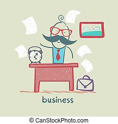 scrivania, affari, persone lavorare