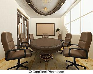 scrivania, con, sedie, in, ufficio, interior., posto lavoro