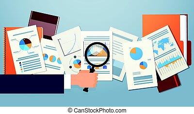 scrivania, finanza affari, analisi, diagramma, lente ingrandimento, mano, grafico, finanziario, documenti, uomo affari
