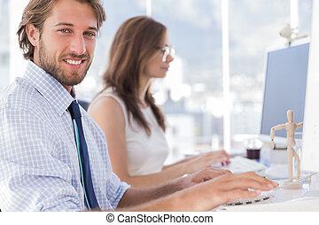scrivania, grafici, lavorativo, loro