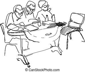 scrivania, insegnanti, occhiali, seduta