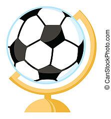scrivania, palla, calcio, globo