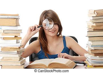 scrivania, ragazza, adolescente, cultura