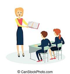 scrivania scolastica, due, pupilla, seduta