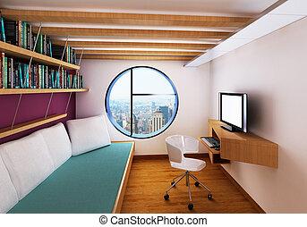 scrivania, stanza, moderno, letto, alto, pc, vista interna
