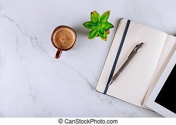scrivania, tazza, tavola, ufficio, quaderno, tavoletta, penna, digitale, caffè