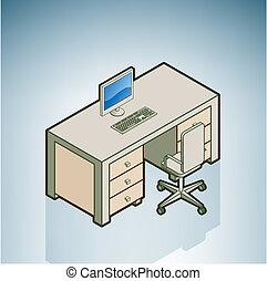 scrivania ufficio, con, sedia