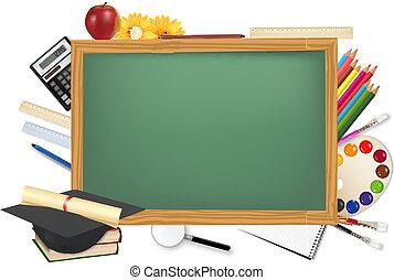 scrivania verde, con, rifornimenti scuola