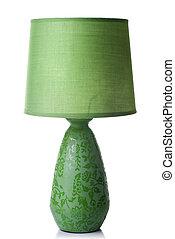 scrivania verde, lampada, isolato, bianco
