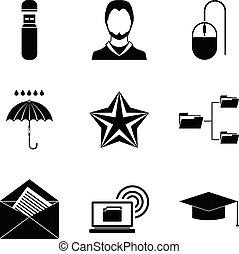 scrivener, conjunto, estilo, iconos simples