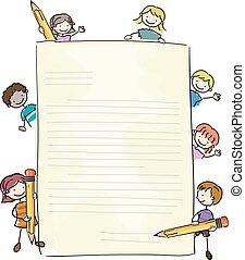 scrivere, bambini, stickman, lettera, illustrazione