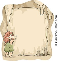 scrivere, caveman, caverna, cornice