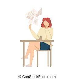 scrivere, illustrazione, vettore, saggio, ragazza, non, che manca, seduta, pigro, scrivania, scuola