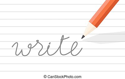 scrivere, matita, linea, carta