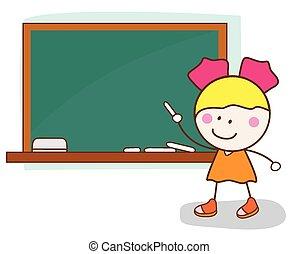 scrivere, studente femmina, asse