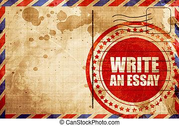 scrivere, un, saggio, grunge rosso, francobollo, su, un, posta aerea, fondo