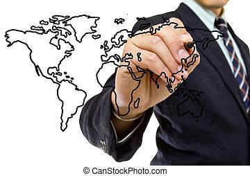 scrivere, uomo affari, mappa, mondo